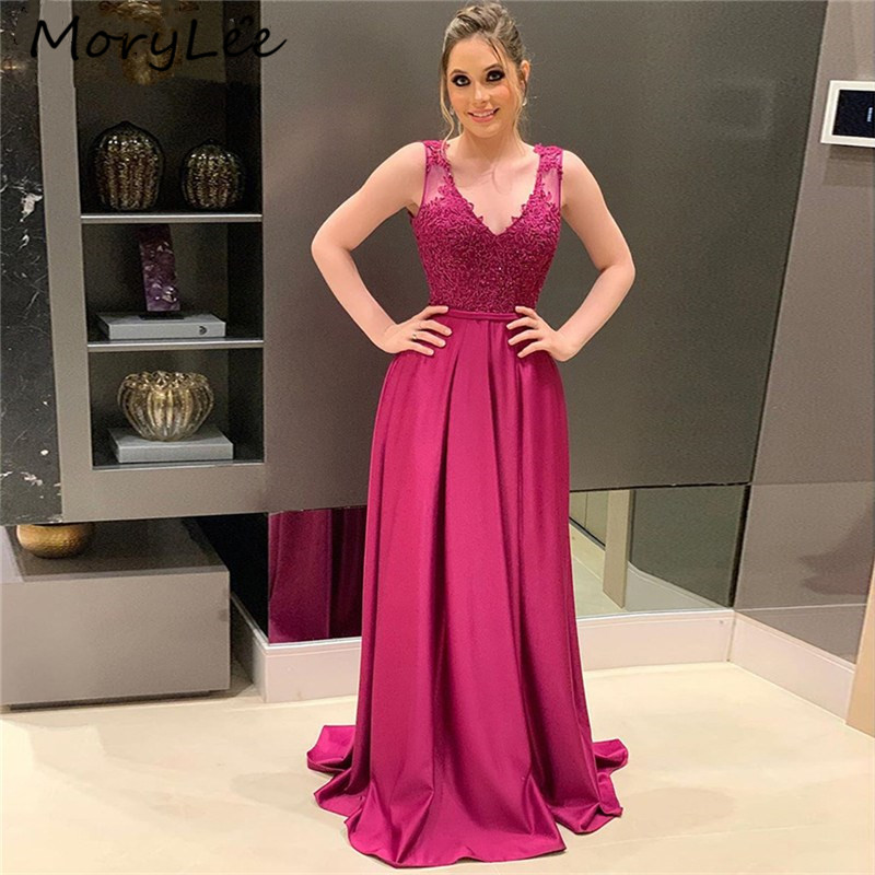 Eleagnt Evening Dresses V-Neck Sleeveless Lace Applique Silk Satin Evening Dresses With Zipper Back Vestidos De Fiesta De Noche