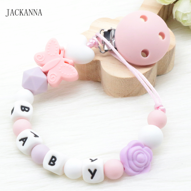 Custom Name Baby Dummy Clips Silicone Baby Pacifier Clips Holder Chain Safe Teething Chain Newborn Shower Gifts BPA Free