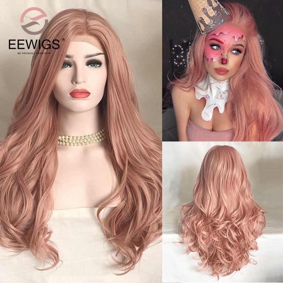"""EEWIGS-peluca larga y recta para mujer cabello sintético resistente al calor de 24 """", verde, amarillo, degradado, peluca con malla frontal Natural, Cosplay"""