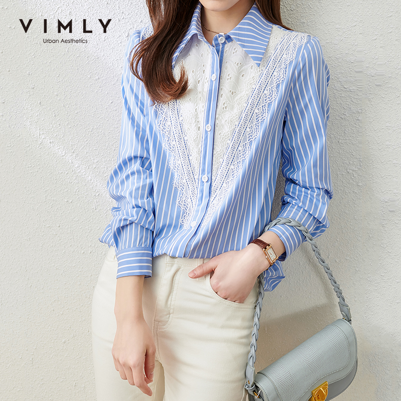 VIMLY Office Lady Stripe Shirts Fashion Patchwork Lace Button up Shirt Elegant Full Sleeve Blouse Female Tops Blusas F6661 1