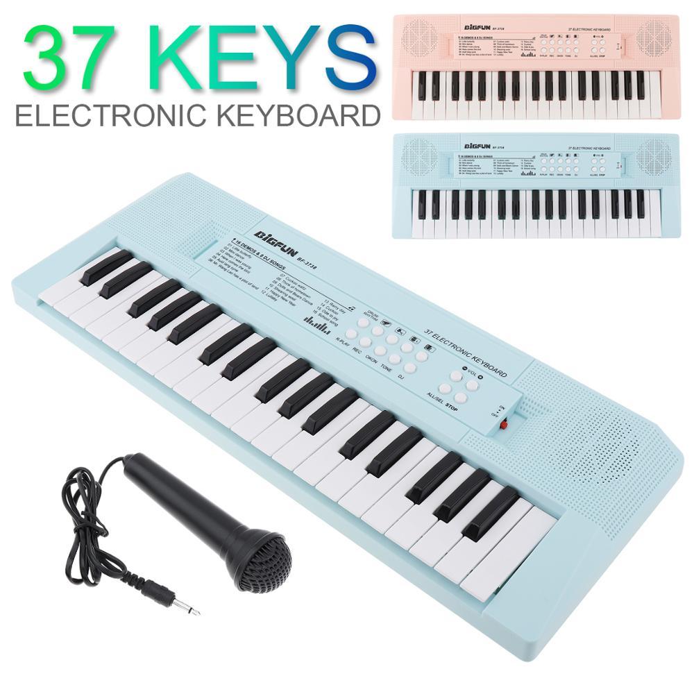 Teclas de Teclado Chave de Música Digital com Microfone Rosa e Azul Eletrônico Piano Placa Iluminação Musical Opcional 37