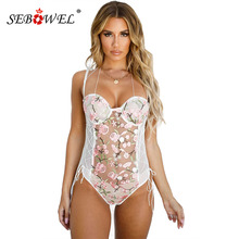 SEBOWEL Female Sleeveless Transparent Floral Lace Up Embroidery Bodysuit Woman W