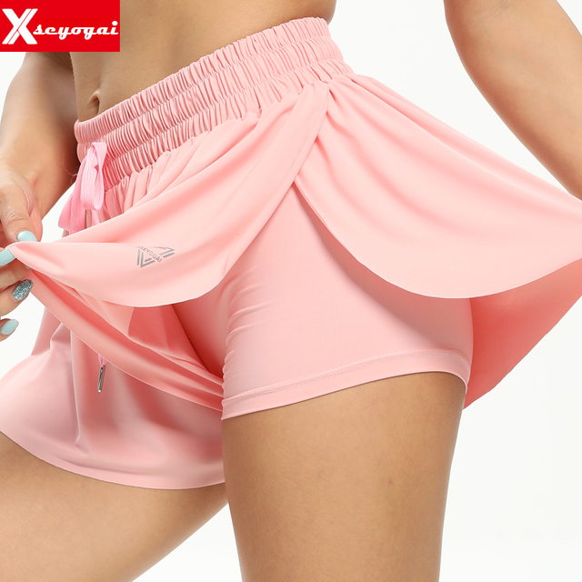 Women's High Waist Stretch Athletic Workout  Active Fitness Volleyball Shorts 2 in 1 Running Double Layer Sports Shorts 1
