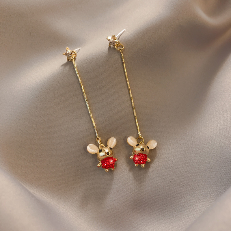 Korean style red long earrings mouse shape pendant exquisite metal Fashion Stud Earrings elegant High Quality Women's Earrings
