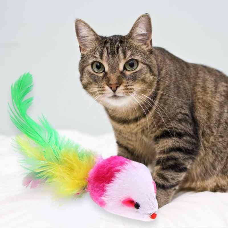 재미 있은 애완 동물 고양이 장난감 플러시 거짓 마우스 대화 형 티저 플러시 마우스 고양이 깃털 장난감