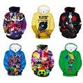 Brawlings crianças hoodies leon jogo de tiro 3d impresso moletom com capuz meninos meninas harajuku dos desenhos animados estrela jaqueta topos roupas adolescentes