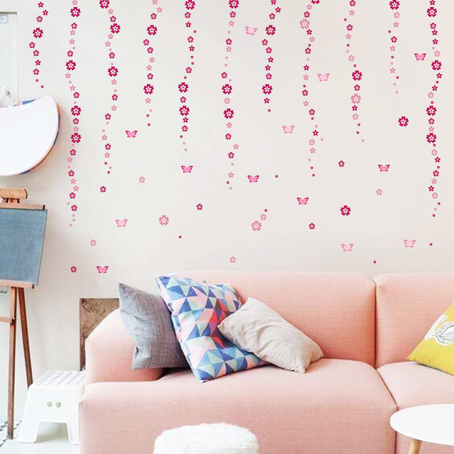 108pcs Flowers & 6pcs Butterfly Wall Stickers 4