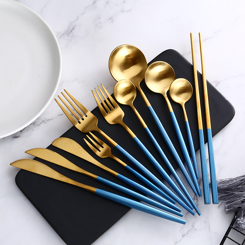 Blue Gold Steak Knife Fork Coffee Spoon Teaspoon Food Tableware Set Noble Western Wedding Party Home Upscale Gold Cutlery Set