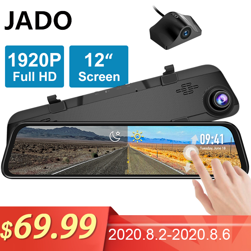 JADO G840S 12-inch Streaming <font><b>RearView</b></font> <font><b>Mirror</b></font> <font><b>Car</b></font> <font><b>Dvr</b></font> <font><b>Camera</b></font> Dashcam Front 1296P Rear 1080P Lens Driving Video Recorder Dash Cam image