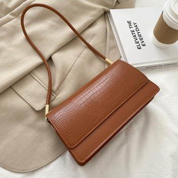 Alligator Pattern Baguette Bags for Women 2020 New Luxury Handbags Designer Shoulder Bag Fashion PU Leather Female Underarm Bag