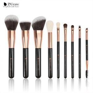 Image 2 - DUcare 9PCS Makeup Brushes Set Professional Natural Goat Hair Brushes Foundation Powder Contour Eyeshadow Make up Brushes Set