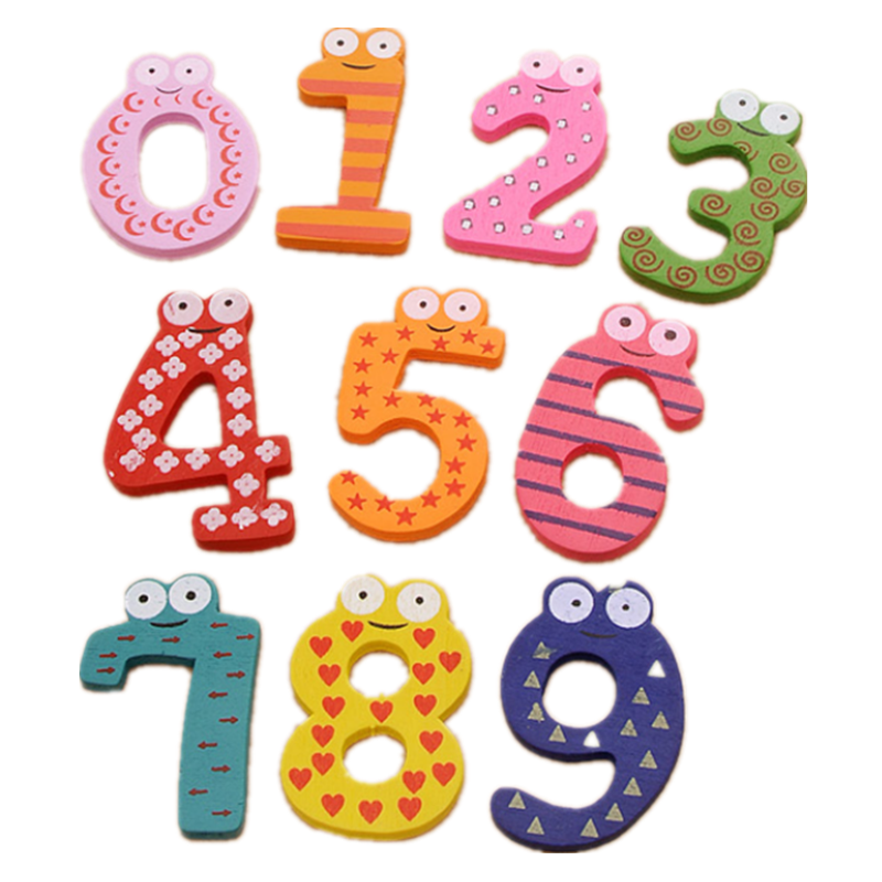 10pcs/set Baby Number Refrigerator Fridge Magnets Figure Stick Mathematics Wooden Educational Kids Toys For Children