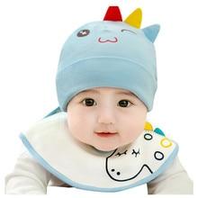 Новорожденная девочка мальчик ребёнок Младенец Зима Теплый динозавр шапка бини нагрудник шапка набор зима теплый динозавр стиль дети шапочки