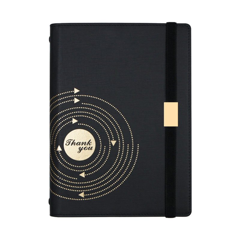 A5 Black Delicate Bandage Spiral Loose-Leaf Notebook 6 Hole Diary Business Retro high-end Diary Planner Agenda Notepad Gift Box