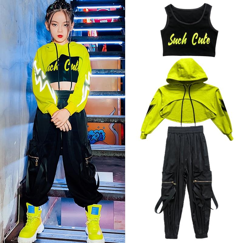 Kids Girls Hip Hop Costume Fluorescent Green Crop Tops Casual Black Pants Girls Jazz Modern Dancing Clothes Show Wear BL5297