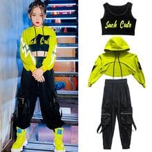 Crianças meninas hip hop traje fluorescente verde colheita topos casuais calças pretas meninas jazz moderno dança roupas mostrar wear bl5297