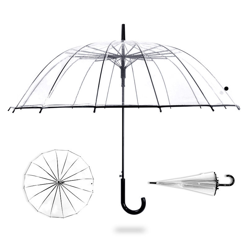 Direct Selling From Production Place Large Umbrella Surface 16 Bone Wind And Rain-Style Straight Pole Umbrella Long Handle Trans