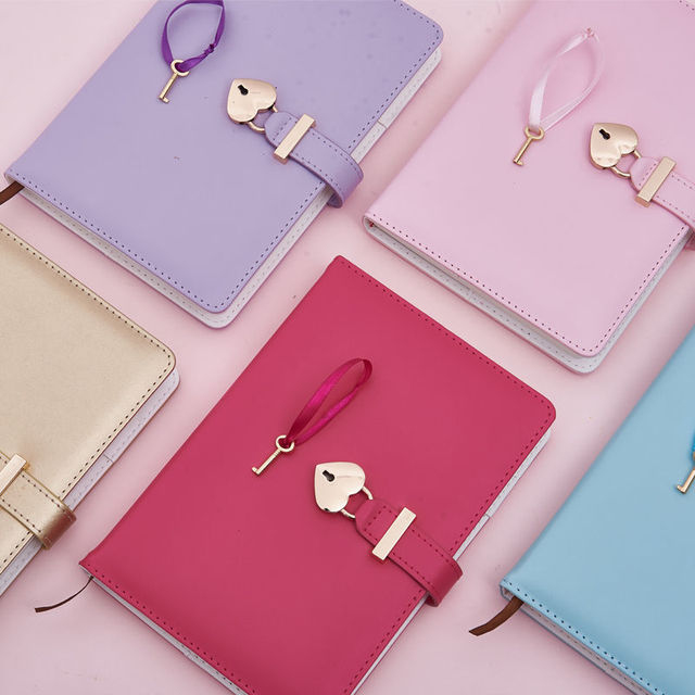 Couple A5 Diary with Heart Lock PU Leather Notebook School Supplies Lockable Password Writing Pads Girl Women Gift
