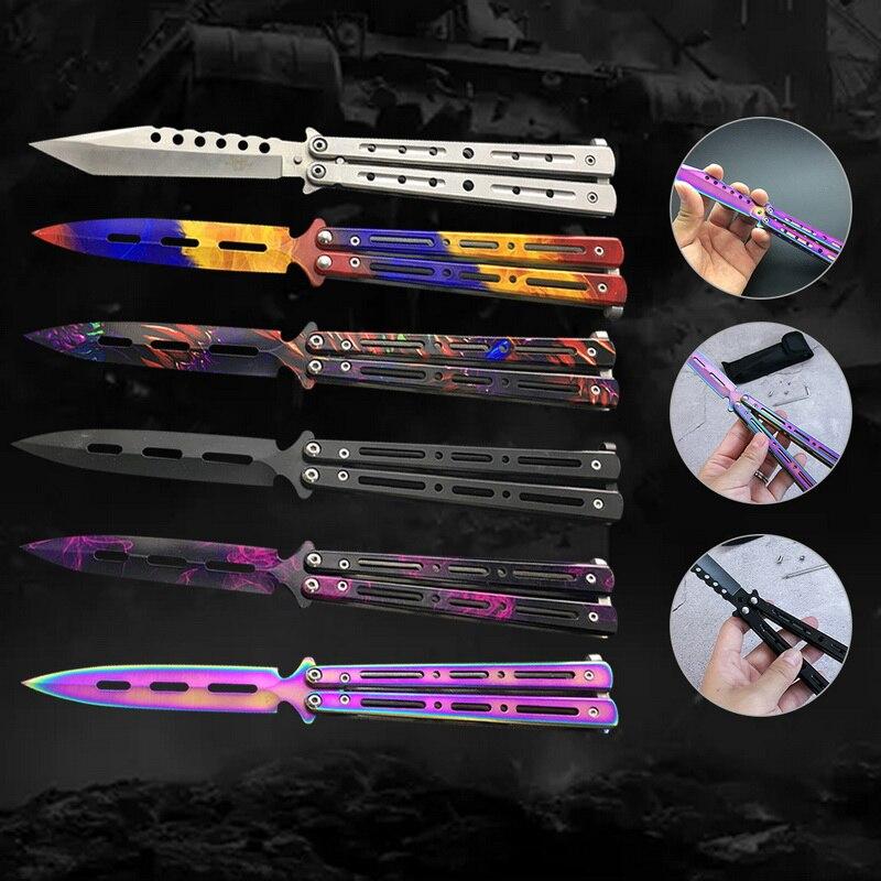 ZIYLCO Folding Messer Praxis Schmetterling Messer Edelstahl Keine Kante Sport Im Freien Werkzeug Ausbildung Messer
