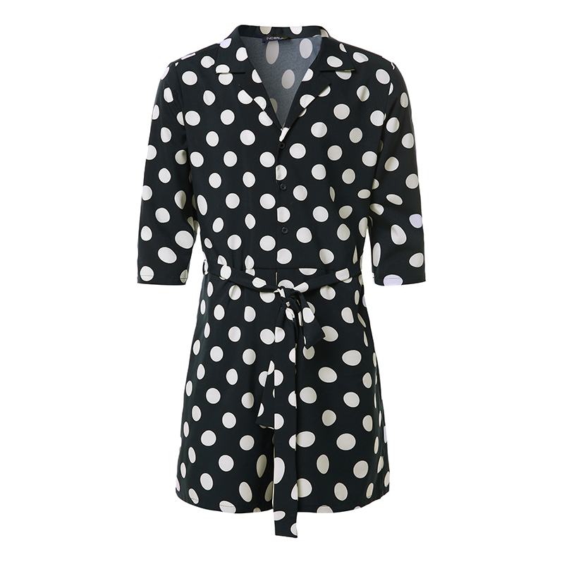 Fashion Polka Dot Men Rompers Jumpsuit Ladies Playsuit 3/4 Sleeve Lace Up Pants Overalls Casual Lapel Streetwear S-5XL INCERUN