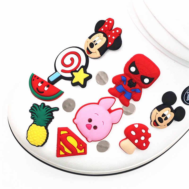 ขายเดียว 1 PC PVC รองเท้า Charms การ์ตูน Mickey Minnie Lollipop Batman หัวเข็มขัดตกแต่งสำหรับ croc jibz เด็ก x-Mas ของขวัญ