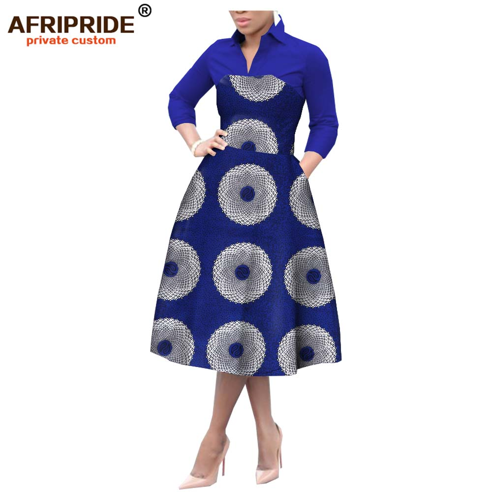 2019 african a line dresses for women crop top print dress casual party outfit dashiki clothing wax cotton AFRIPRIDE A1925042
