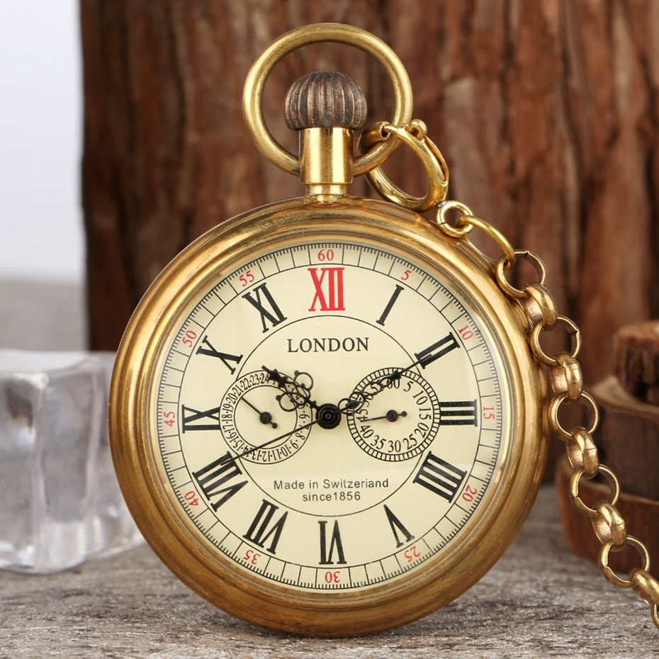Antique Copper London 1856's Antique 5 Hands Mechanical Pocket & Fob Watches Hand Winding Skeleton Mens Pocket Watch 30cm Chain