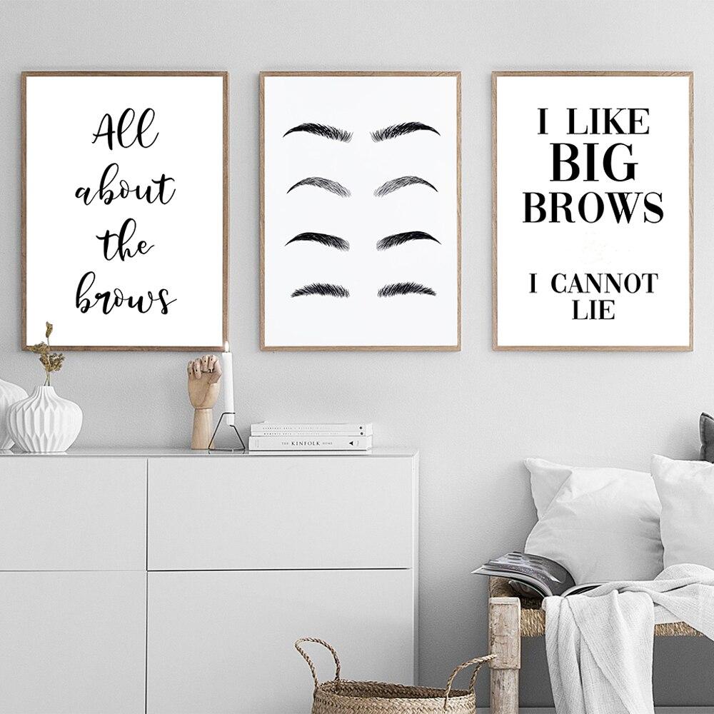 Постеры и принты в виде бровей для салона красоты, забавная художественная стена с цитатой и принтом ресниц, украшение для спальни, домашний...