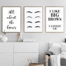 Formas de cejas para salón de belleza, pósteres e impresiones de maquillaje, arte de pared con cita divertida, imágenes de pestañas, decoración de dormitorio, decoración del hogar