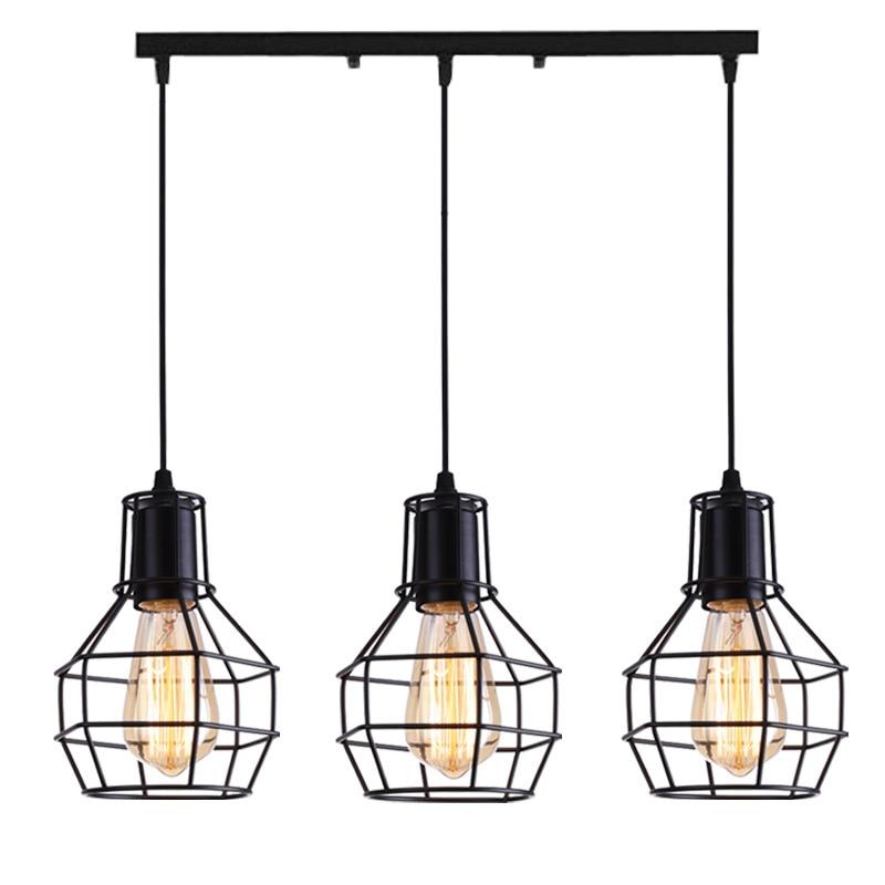 Nordic Loft Retro Iron Cage Hanging Light Modern Light Fixture American Industrial Vintage Kitchen Pendant Lamps
