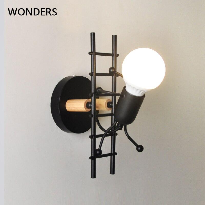 ferro conduziu a lampada de parede americano criativo luzes parede metal dos desenhos animados robo arandela
