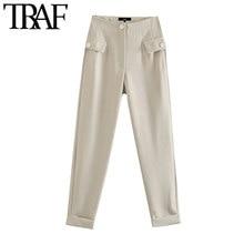 TRAF-Pantalones rectos elegantes con bolsillos abotonados para Mujer, pantalón Vintage de cintura alta con cremallera, para Mujer