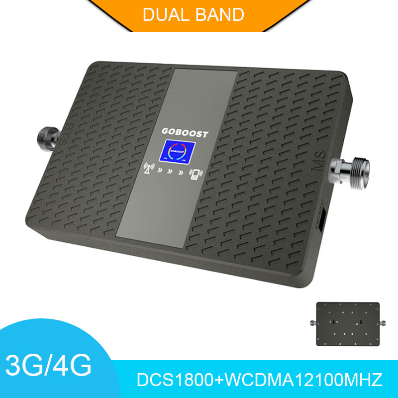 Mobile Signal Amplifier LTE 4G Network LCD Display DCS1800+WCDMA2100mhz Cellular Signal Booster 70dB Dual Band Repeater