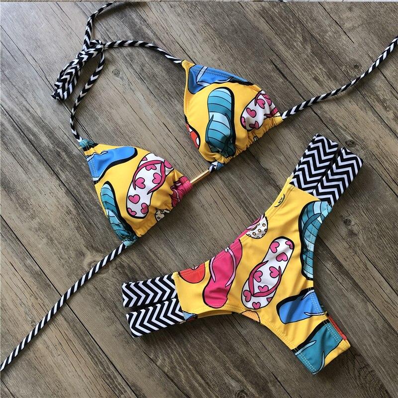 H5fc7e07b52de43e19f2dd6d17f0c2785E Sexy Halter Swimsuit Women Thong Micro Bikini Push Up 2019 Brazilian Bikini Tropical Plant Print Swimwear String Mini Swimsuit