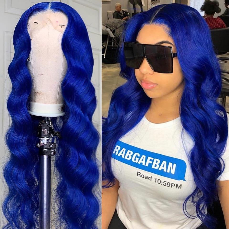 Прозрачные парики на сетке, плотность 180, волнистые цветные парики из человеческих волос, перуанский парик без повреждений на сетке, синий п...