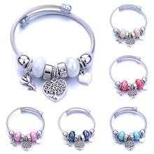 Charm Cuff Bracelet Bangle with Flower Heart Shaped Pendant Bracelet for Women Fashion Adjustable Wire Bracelets Jewelry Gift