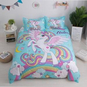 Image 4 - 3D Carino Unicorno set di Biancheria Da Letto copripiumino e federe EU/AU/US/size per le ragazze