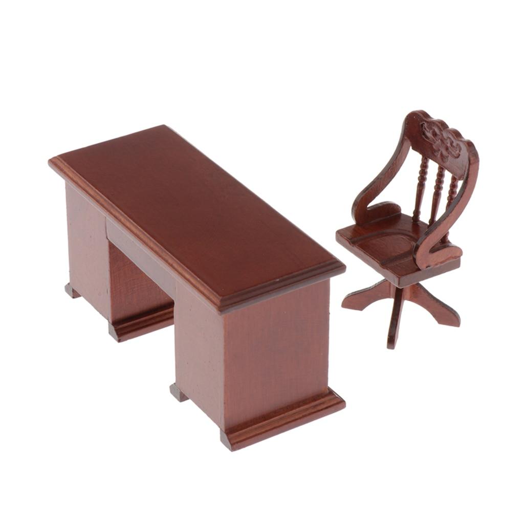 Casa de bonecas em miniatura computador mesa cadeira conjunto para 1/12 escala bonecas casa estudo mobiliário de escritório e decorações kit, marrom