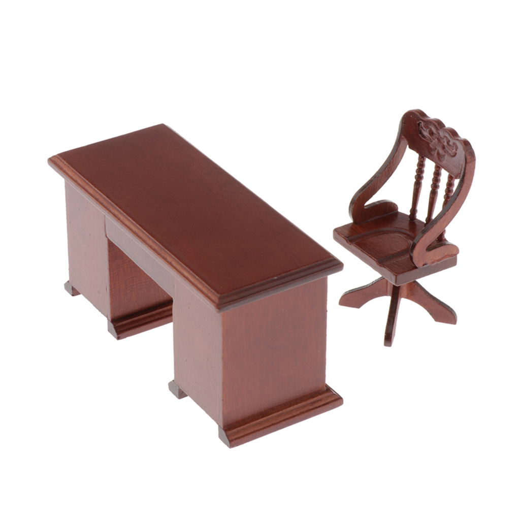 Miniature Dollhouse Computer Desk Chair Set For 1/12 Scale Dolls House Study Office Furnishings And Decorations Kit, Brown