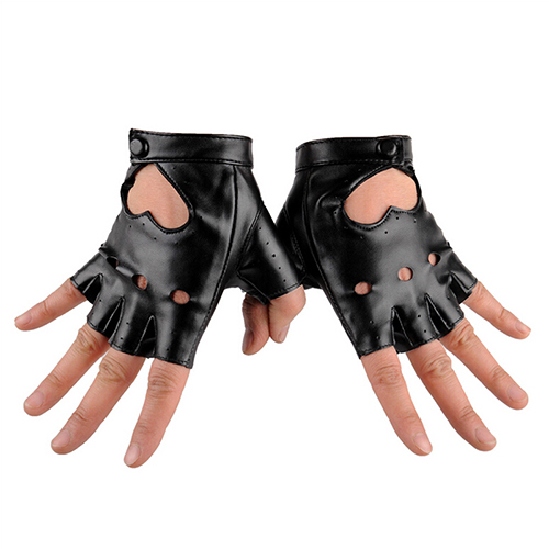 PU Leather Gloves Punk Hip-hop Half-finger Round Tactical Gloves Without Fingers Nail Glove 3