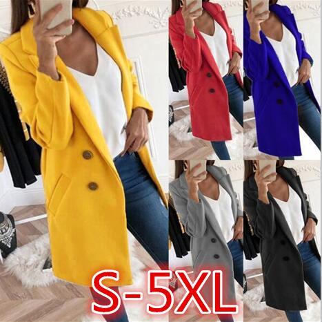 2019 Winter Fashion Women New Coat Long Sleeve Medium Long High Quality Wool Coat Loose Super Warm Woolen Coat Omen