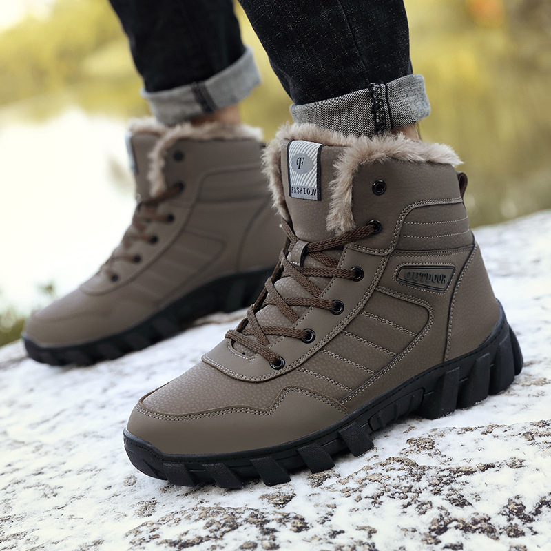 plus velvet thickening Martin boots large size high to help cotton shoes waterproof non-slip outdoor hiking shoes snow boots men
