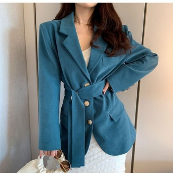 Loose Casual Womens Suit Coat Solid Button Long Sleeve Work Office Lady Elegant