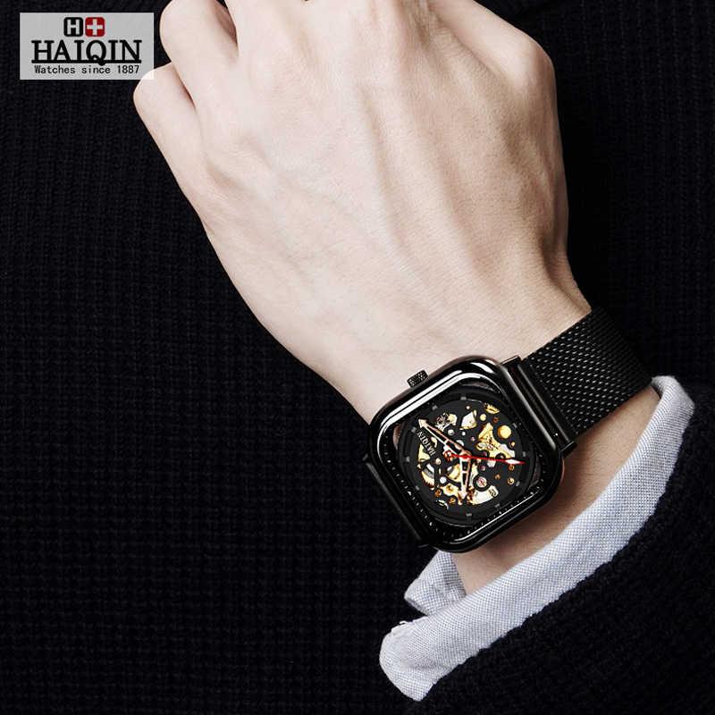 HAIQIN Quadrato di Modo di Sport del Mens Orologi top brand di lusso orologio Meccanico uomini della vigilanza wirst Cavo impermeabile Reloj hombres 2019