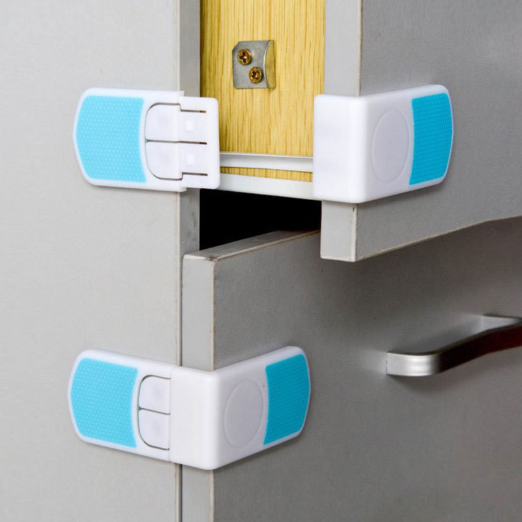 2pcs Safety Cabinet Door Cupboard Plastic Lock Child Kids Drawer Cabinet Lock Long Style Safety Blue Cabinet Locks & Straps