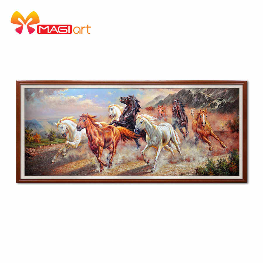 Kruissteek kits Borduren handwerken sets 11CT water oplosbare canvas patronen 14CT Chinese Stijl Tien Paarden Galloping-NCMA055