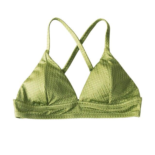 Green Textured Triangle Bikini Top