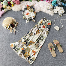 Backless Bandage Camisole Crop Top And Long Skirt Summer Outfits For Women New 2020 Fashion Ladies Printed Boho Two Piece Set(China)