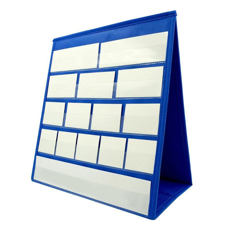 Tabletop Desktop Pocket Chart With 20Pcs Dry Erase Cards Double Sided Self-Stand