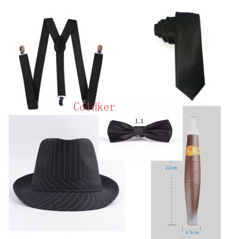 1920s Accessories for Men 20s Gatsby Gangster Costume Accessories Set Fedora Hat Suspenders